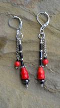 Statement coral earrings, red and black earrings, drop earrings, Boho (E45) - £12.77 GBP