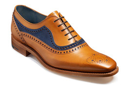 Handmade Men's Brown Toe Brogues & Blue Suede Dress/Formal Oxford Leather Shoes image 1