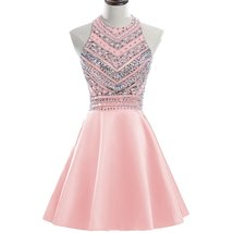 2018 Sparkly Beaded Homecoming Dresses Sequined Halter Prom Party Gowns Short - $124.00