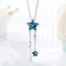Cdyle Embellished with crystals from Swarovski Women Necklace Pendant Blue Star  image 4