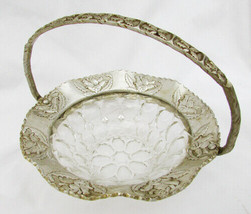 Pounded Aluminum brides basket roses with thumbprint glass insert - $7.95