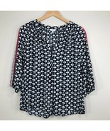 Crown & Ivy Womens Top Sz M 3/4 Sleeve Popover Blouse Navy Blue Pink Whi... - $18.99