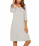 Ekouaer V Neck Nightgown Womens Sleepwear Lace 3/4 Sleeve Ladies Sleepsh... - $18.72