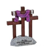 RELIGIOUS-CROSS-STATUE-EASTER-3-CROSSES-STANDING-FAITH-DECORATION-PURPLE... - $38.87