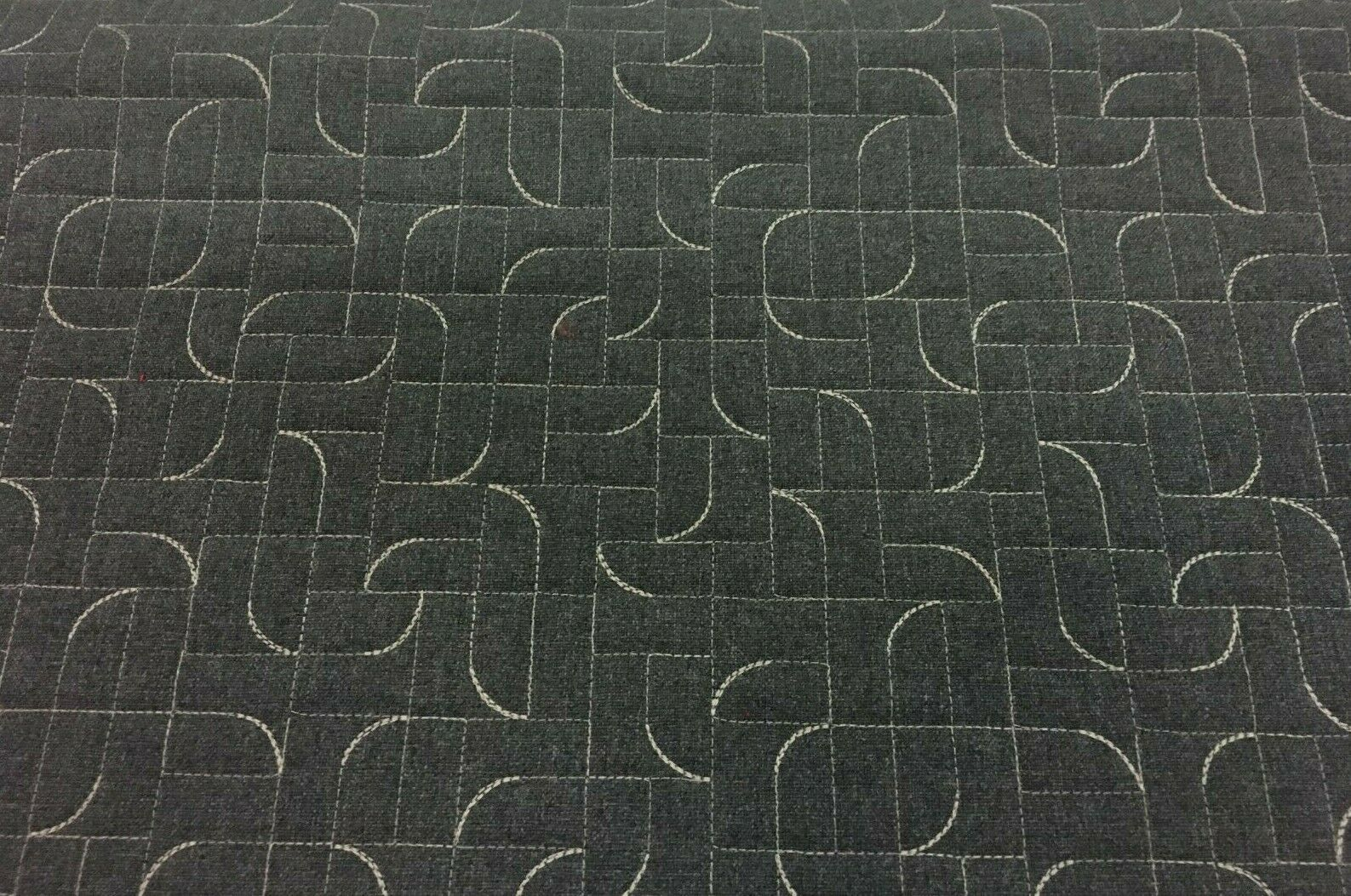 Luum Arc Angle Quilted Geometric Erebus Gray Upholstery Fabric 4.375 yds NR