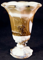 Westmoreland Olive / Brown Slag  / Marbled Glass Paneled Grape Vase - $25.99