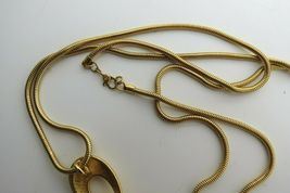 "Monet Enamel Pendant Necklace Snake Chain Designer Gold Plated 36"" Long 70s NICE image 5"