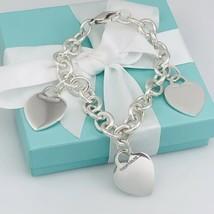 Tiffany & Co Sterling Silver 3 Three Charm Blank Heart Tag Charm Bracelet - $349.00