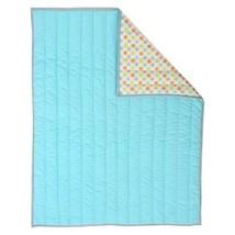Sumersault Unisex Reversible Crib Quilt Baby Blanket Aqua green Orange Dots - $17.67