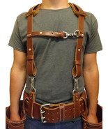 LEATHER WORK SUSPENDERS - Amish Construction Belt & Back Support USA HAN... - $127.37