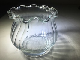 Indiana Glass Patterned Small Clear Glass Bowl, Vase, Jar - $9.89