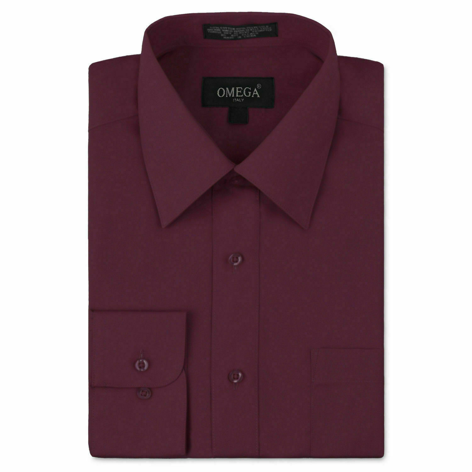 Omega Italy Men Burgundy Classic Fit Standard Cuff Solid Dress Shirt - XL