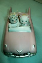Vintage Kitty Cucumber Music Box - Bride & Groom in Pink Cadillac - Works Great! - $47.78