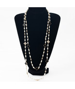 Ng necklaces rhinestone four leaf clovers gold color chain strand beads female sweater thumbtall
