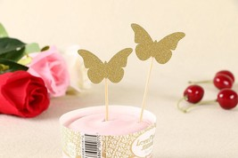 50pcs Cupcake Topper Gold Glitter Butterfly Cupcake Toppers Wedding Bamb... - $24.01