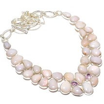 "Pink Opal,Kunzite Gemstone Handmade .925 Silver Jewelry Necklace 18"" - $49.99"