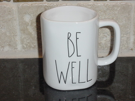 Rae Dunn BE WELL Rustic Mug, Ivory with Black Letters, New! - $12.00