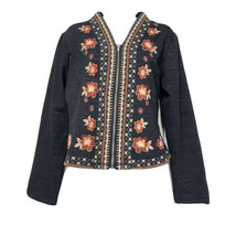Mono Reno Boho Black Floral Embroidered Jacket Cardigan Size L - $59.39