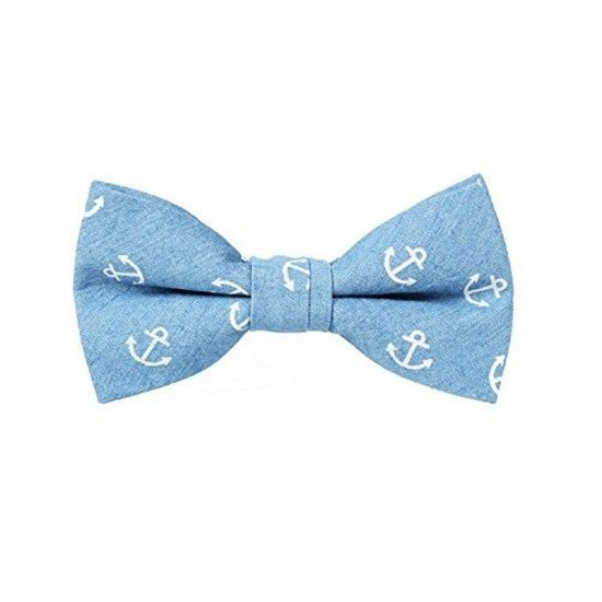 Classic Anchor Pattern Cotton Pre-tied Bow Ties Light Blue Anchor Top Quality