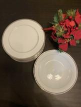 "Royal Doulton Platinum Lux Porcelain 8 Dinner Plates 10 5/8"" And Serving Bowl - $86.02"