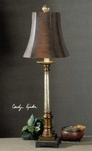 Oil Rubbed Bronze and Silver Table Lamp Brown Buffet Column Square Tuscan New - $160.60