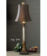 Oil Rubbed Bronze and Silver Table Lamp Brown Buffet Column Square Tusca... - $160.60