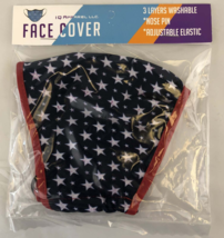 3 Ply Adult Face Mask with Adjustable Ear Loops - Stars - Fast Free Ship... - $6.95