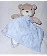 Kyle Deena Baby Security Blanket Blue Tan Bear Minky Dot Bumpy Satin - $18.79