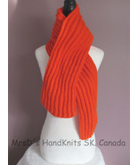 Bright Orange 70 Inch Handmade Handknit Ribbed Scarf - $26.00