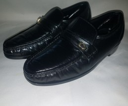 Florsheim Men's Riva Moc Toe Loafers Black Leather Size 8.5 E (Wide) - $88.05 CAD