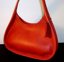 COACH Vtg ERGO MINI HOBO RED Leather EUC 9027 U... - $31.96