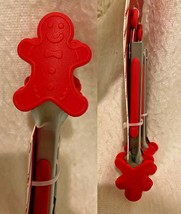 Red Gingerbread Man Mini Tong Set Silver Silicone Grabber Holiday Kitche... - $14.70