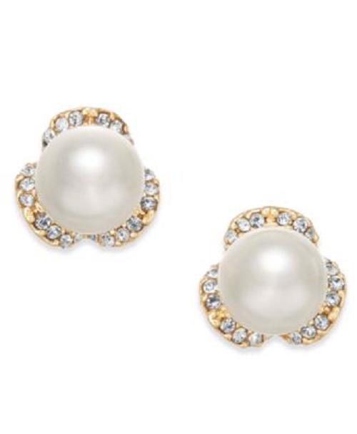 Charter Club Gold Tone Pearl Stud Earrings - New - $9.90