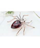 High Quality Purple Glass Crystal Spider Brooch Pin - $7.34