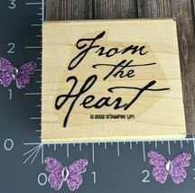 Stampin Up 2002 Rubber Stamp From The Heart Gift Thinking Present Script... - $1.73