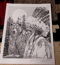 Print of Original Artwork Indian with Bear in Forest Signed Legally Blin... - $8.00