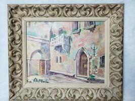 "Vintage Wood Painting Gold Gilt Ornate Picture Frame Signed Odlazim 15""x... - £43.19 GBP"