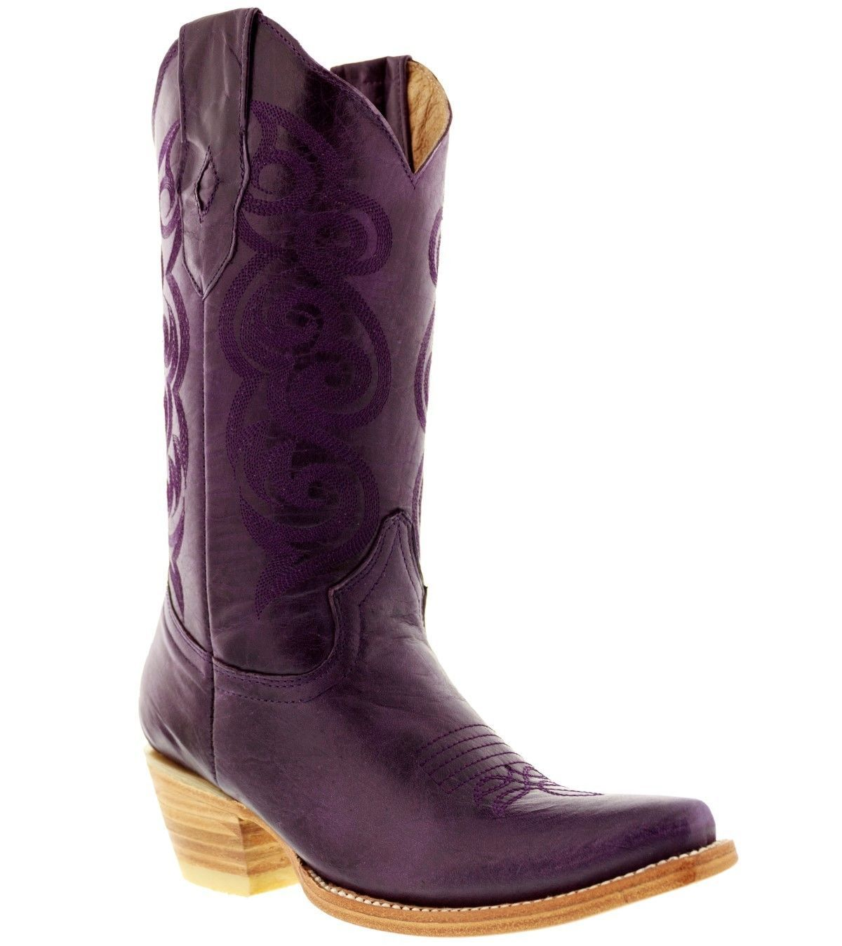 women's caroline purple western leather cowboy boots rodeo cowgirl ladies riding - €106,30 EUR