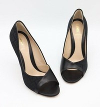 NIB Fendi Black Zucca Canvas Leather Logo Open Toe Heels Pumps New  8.5  38.5 - $325.00