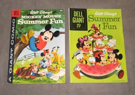 Dell Giant Walt Disney's Summer Fun comic lot of 2, 1958 #1 Mickey Mouse 1959 #2 - £17.93 GBP