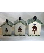 Gibson 2001 Bird Houses Set Of 3 Canisters Green Sponge Rim - $18.89