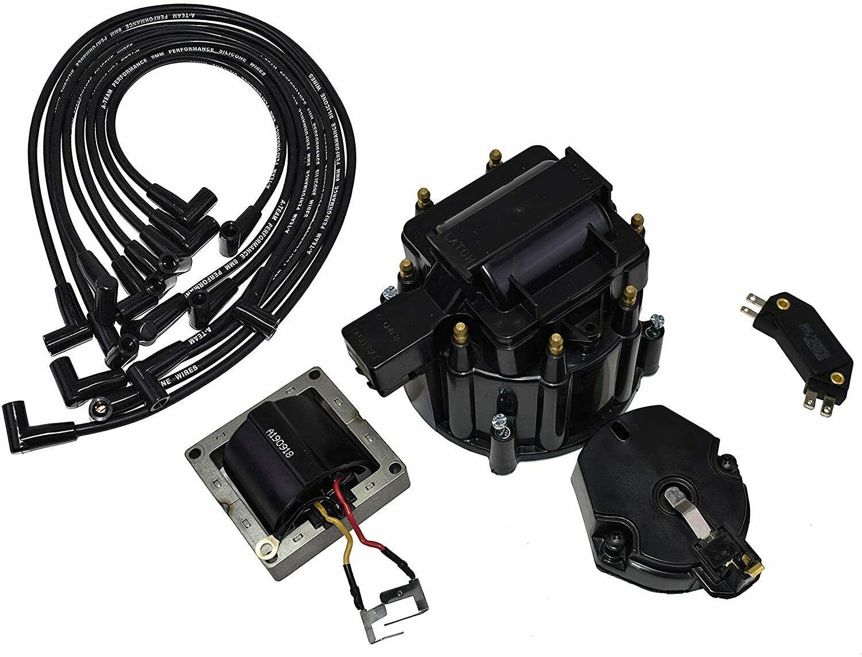 Chevy SBC 262 283 305 350 HEI Distributor Tune Up Kit & 8.0mm Spark Plug Wires