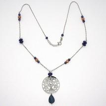 Collar Plata 925 , Lapislázuli, Colgante Medallón Árbol de la Vida image 2