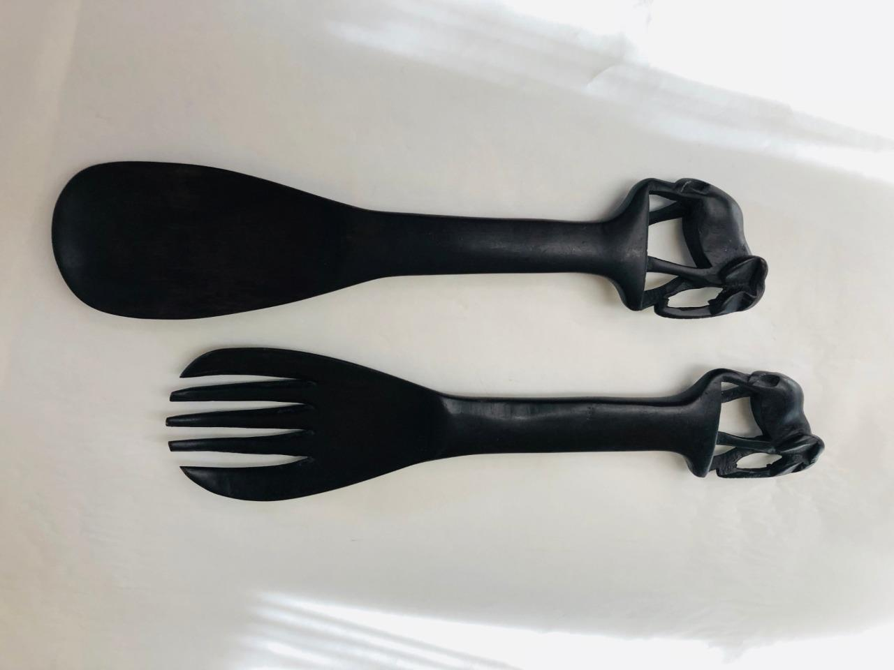 Primary image for Salad Spoon & Fork Elephant handle Black