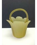 Rare Diane Love MIKASA Petal Basket Yellow Frost Glass MCM Mid Century M... - $29.69