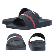 Men's Tommy Hilfiger Designer Logo Slippers Navy Blue Ennis Slide Sandals image 1