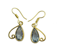 elegant blue topaz cz Gold Plated Blue Earring Natural normaly US gift - $11.87