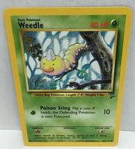 Weedle 100/130 Pokemon Card TCG Wizards Original Base Set 2 NM Great Con... - $2.54