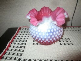 "Vintage Fenton Cranberry & White Ruffled Hobnail Vase - 5"" High X 5 1/2"" Wide - $24.75"