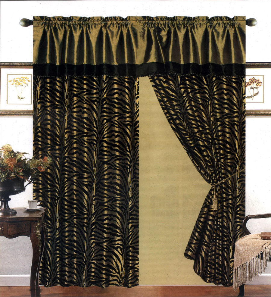 Primary image for 4 Pieces Satin Green/Black Flocking Zebra Pattern Window Curtain Drape Set